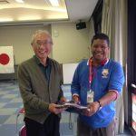 The principal of SMKBBU with the Head of Wakayama Municipal Council.